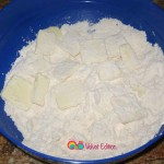 Flour, butter pieces and baking powder.