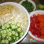 Bean sprouts, baby cucumbers, julienne carrots, red peppers and cilantro.