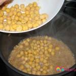Add the garbanzo beans halfway through.