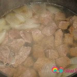 Lower heat, leave the lid slightly open and cook till the meat is tender.