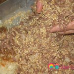 If you find any large pieces of meat, break them apart as you combine the meat and yarma together.