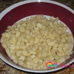 Dice the potatoes and rinse a couple of times.