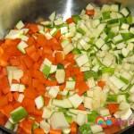 Chopped zucchini, carrots, potatoes, mushrooms.